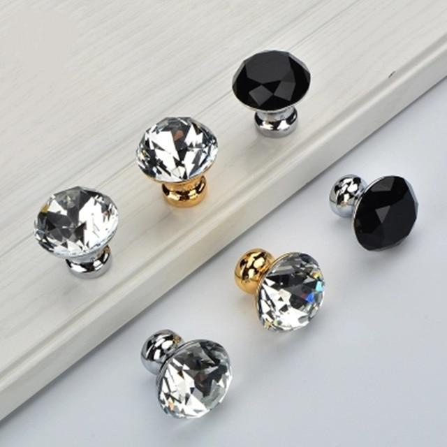 5pcs Modern Diamond Shape crystal Knobs Cupboard Drawer Pull Cabinet Pulls for Kitchen cabinet wardrobe Furniture Hardware
