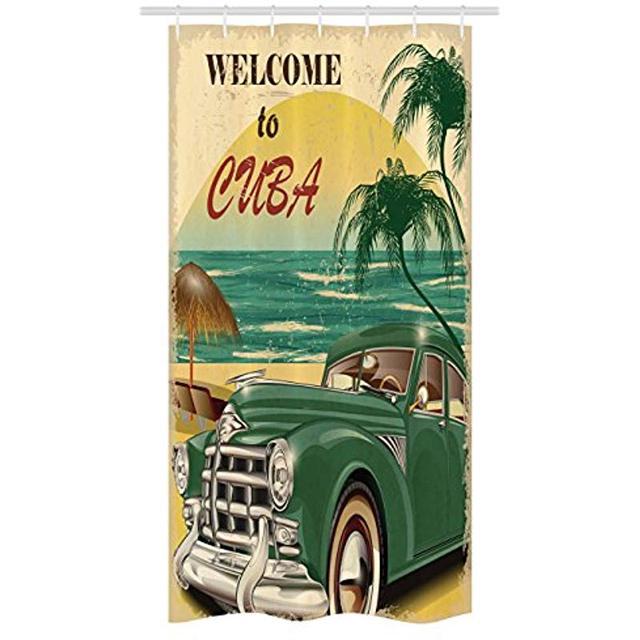 Vixm Retro Stall Shower Curtain Nostalgic Welcome To Cuba Artsy Print With Classic Car Beach Ocean