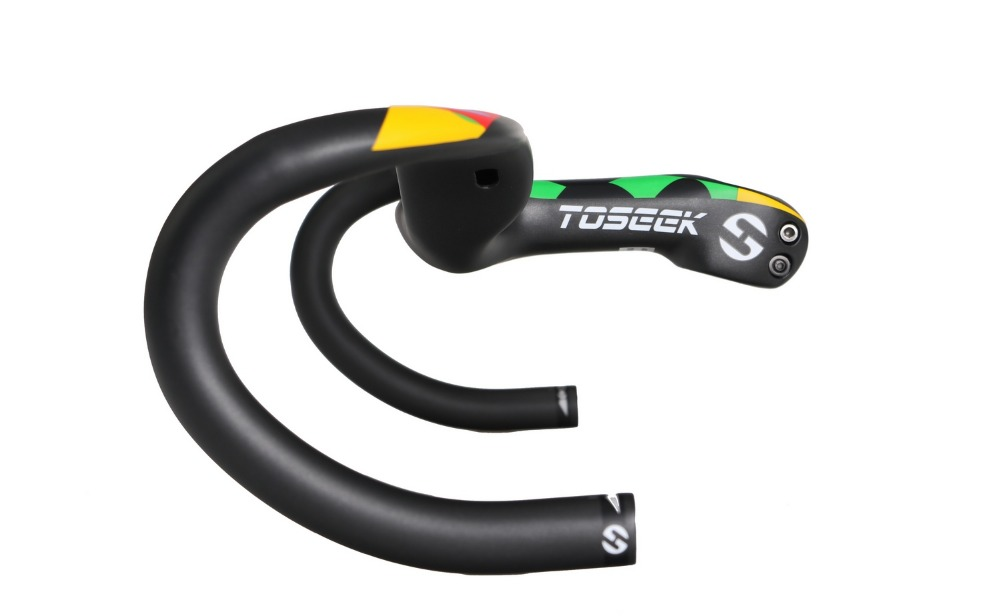 TOSEEK Full Carbon Fibre Stem Handlebar Track Road Bicycle Racing Drop Integrated Bar Stem Handlebar camouflage Label newest ram3 road bike 3k full t800 carbon fibre bicycle handlebar and stem integrated with computer stent holes parts free ship
