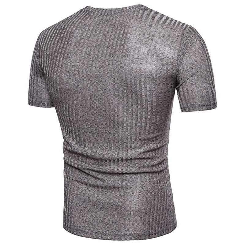 LASPERAL Slim Fit Korte Mouw V-hals T-Shirt Business Mannelijke Casual Business Gestreepte Tops Tees T-shirt Mannen Plus Size 2019 Zomer