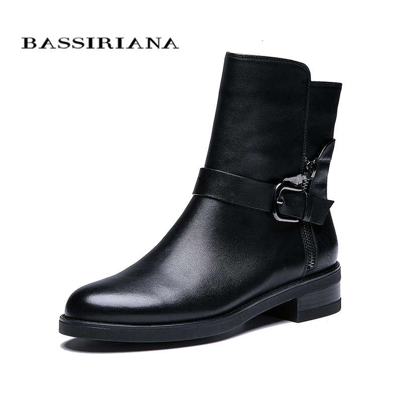 BASSIRIANA New 2018 genuine leather shoes women sheepskin ankle boots brand round toe zip buckle spring Autumn black 35-41 size