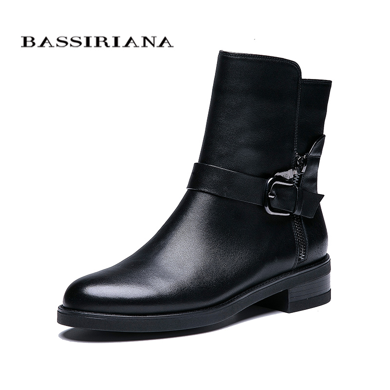 BASSIRIANA Nouveau 2018 en cuir véritable chaussures femmes en peau de mouton cheville bottes marque bout rond zip boucle printemps Automne noir 35-41 taille
