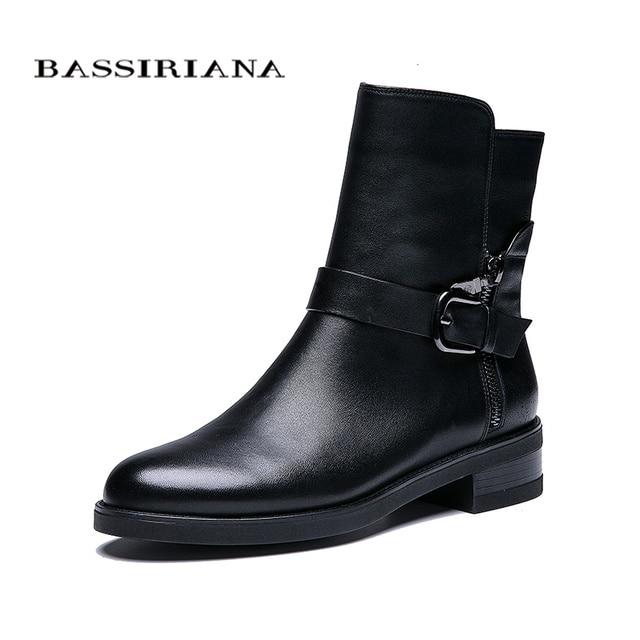BASSIRIANA Nuovo 2018 del cuoio genuino scarpe donna pelle di pecora stivaletti marca punta rotonda zip fibbia primavera Autunno nero 35-41 dimensioni