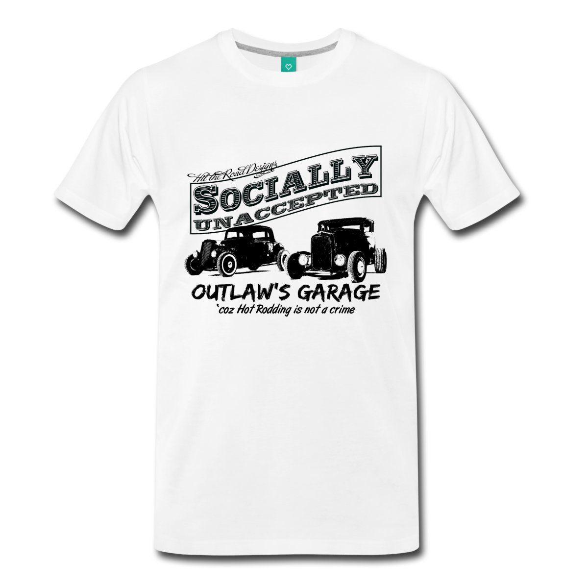 무법자의 차고. 사회적으로 받아 들여지지 않은 핫로드. 두 개의 핫로드 남자 티셔츠 여름 뉴 패션 티셔츠 여름 탑 스커트