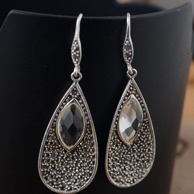 все цены на S925 silver inlaid silver white crystal wholesale antique style female exquisite style of new early adopters онлайн