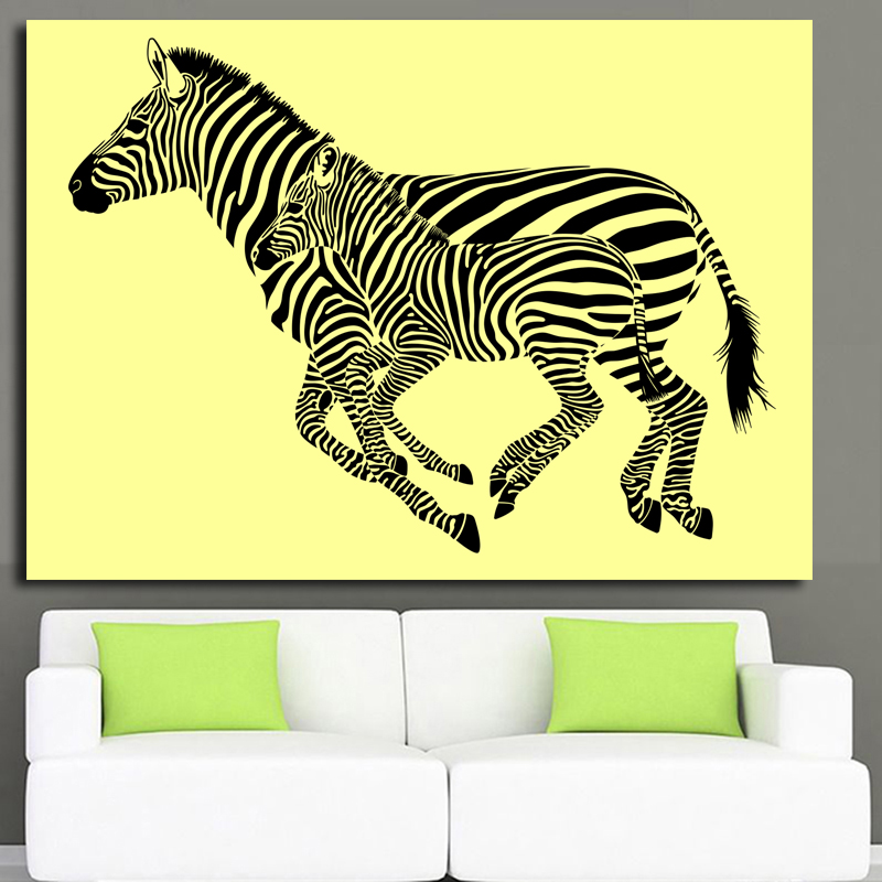 animal paintings Colourful Rainbow Zebra Animal Wall Art printed on canvas Painting Big Size Home Living Room Decoration