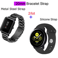 galaxy s4 20mm Bracelet Strap For Xiaomi Huami Amazfit Bip Metal Watch Band For Samsung Galaxy Watch Active S2 S4 Silicone Pulsera Correa (1)