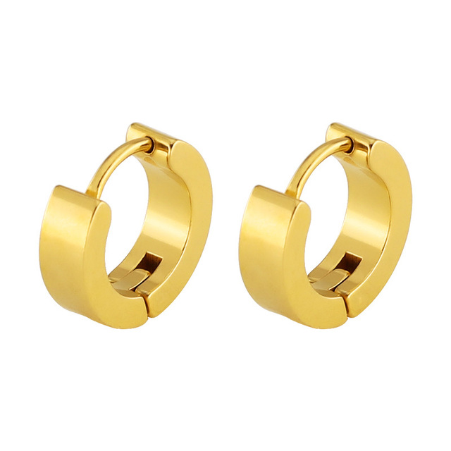 Martick 316l Stainless Steel Gold Hoop Earrings Flat E Round Man Gift Fine Jewelry Never