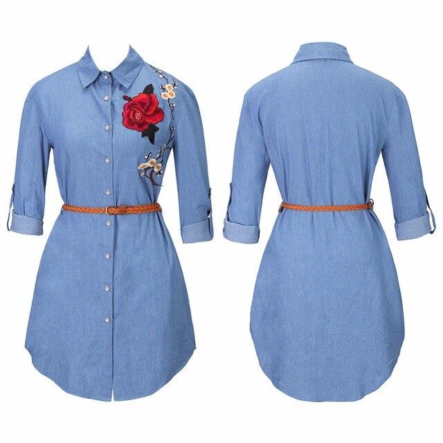 XINGYIDA вышивка Для женщин джинсовая рубашка Chemise 2017 Жан Femme цветочные джинсы Блузка с длинным рукавом Верхняя блуза Camisa Pluse Размеры