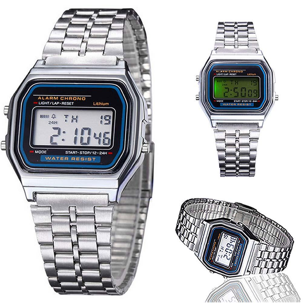 New Fashion Silver Classic Men Women Retro Stainless Steel LCD Digital Sports Stopwatch Wrist Watch