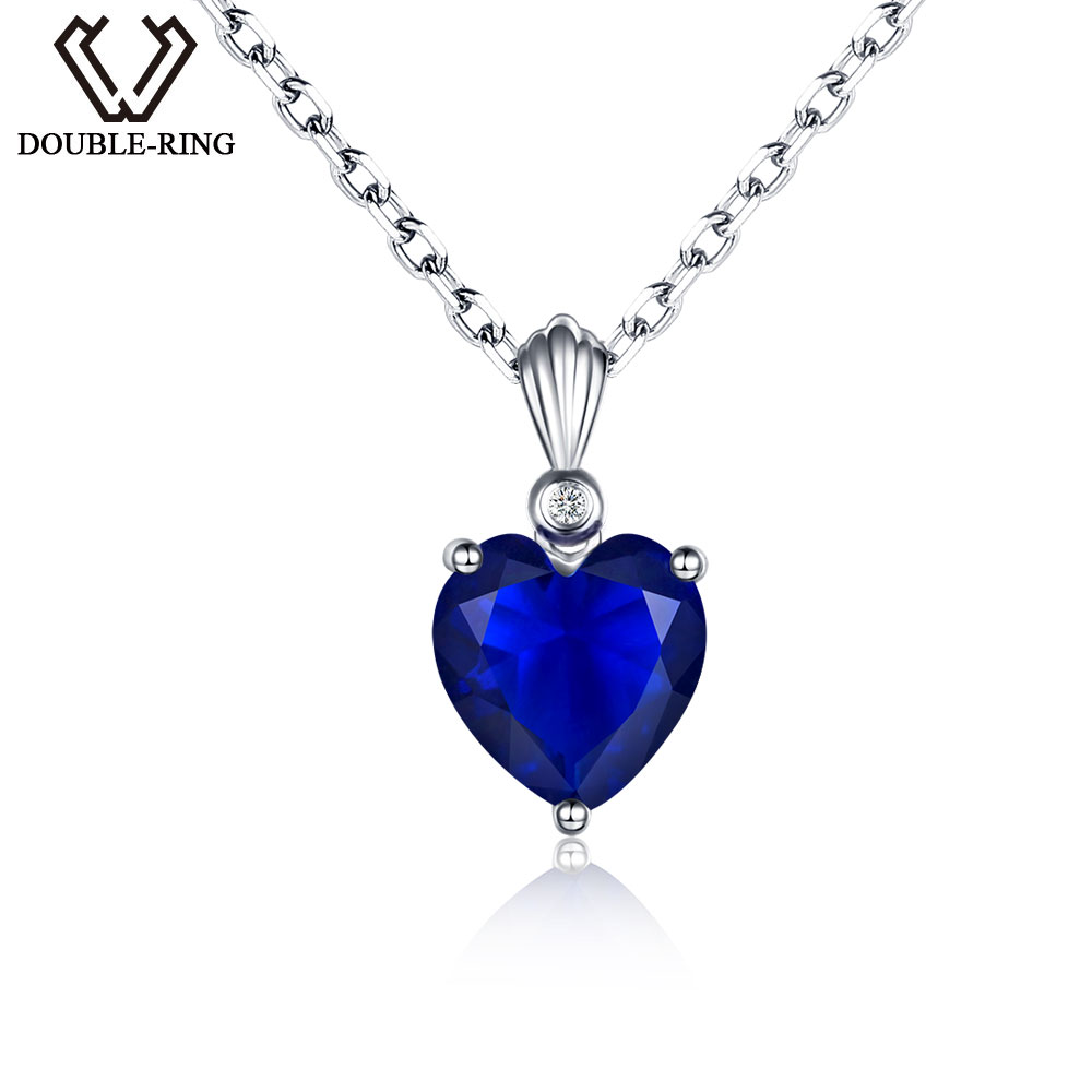 DOUBLE R Real 0.01ct Natural Diamond and 2.72ct Created Sapphire Pendants Real 925 Sterling Silver necklaces Gemstone Jewelry
