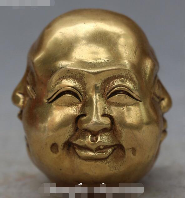 Bronze chinois sculpture 4 visage bouddha heureux en colère triste plaisir tête buste Statue