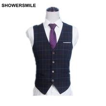 SHOWERSMILE Marke Anzug Weste Männer Plus Größe XL-6XL Plaid Hochzeit Weste Schwarz Navy Sleeveless Jacke Frühling Chaleco Hombre