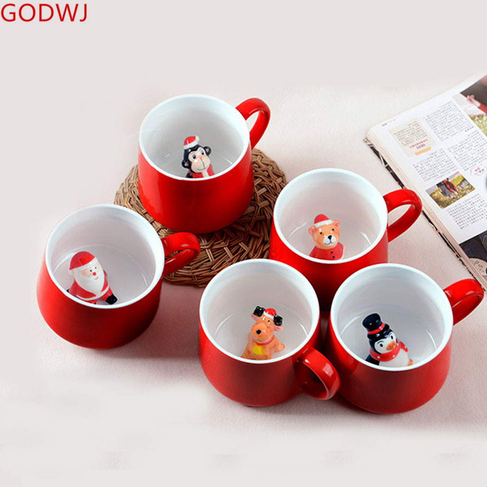 Christmas Coffee Mugs.Us 13 18 35 Off Godwj 3d Cute Creative Animal Christmas Mugs Gift Coffee Mug Heat Resistant Cartoon Ceramic Couple Cup Milk Tea Water Cup In Mugs