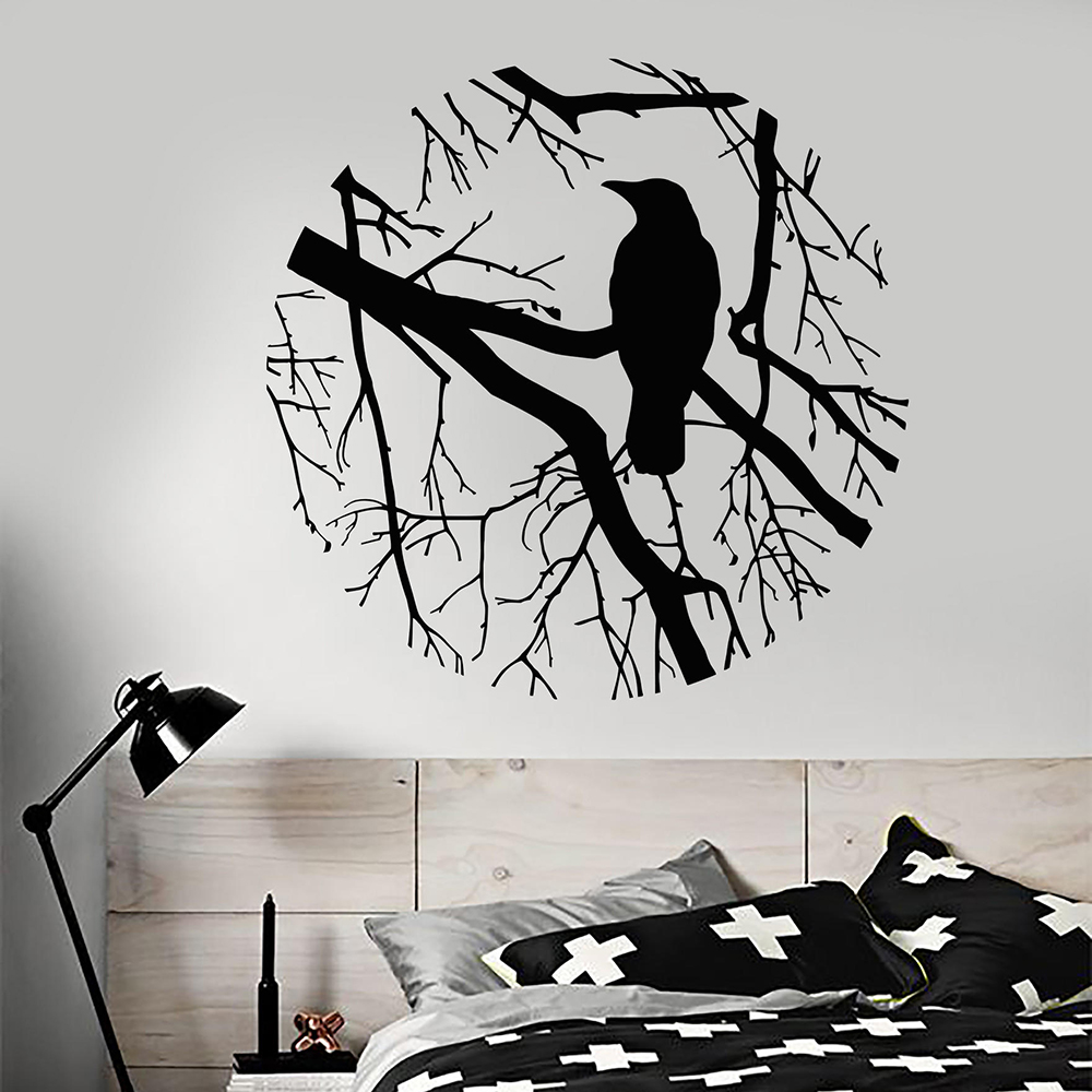 Bird Branch Crow Gothic Style Circle Vinyl Wall Decal Home Decor Living Room Art Mural Removable Wall Stickers