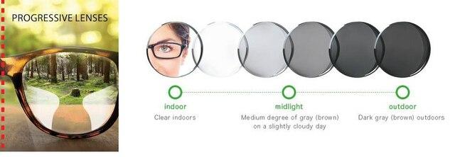 1.56 Lentes Progressivas Fotocromáticas Multifocal Prescrição Óculos de Sol  Lente de Transição de Forma Livre DD1506 2d7f4ed79a