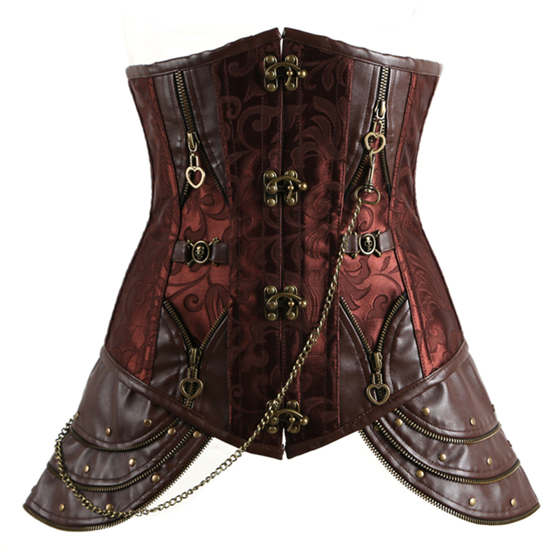 Hot Brown Gothic Vintage   Corset     Bustier   Burlesque Steampunk Lace up Boned zipper Front Carnival Cosplay Costume Top Shirt XXXL