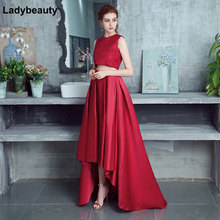 Fashion Sexy 2018 short Evening Dress Sleeveless Lace Formal Asymmetrical party prom dresses