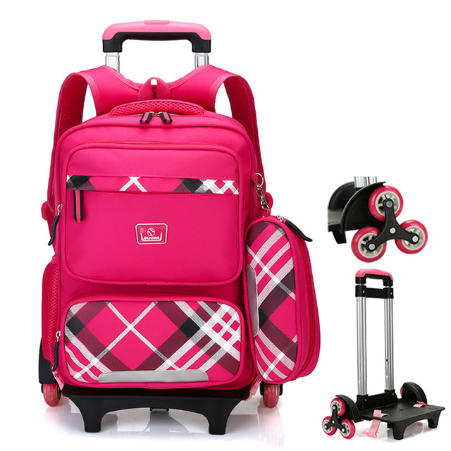 93c711196e18d Kids Trolley Case Children Trolley Wheeled Backpack School Bags with Wheels  for 2-5 grade students  Travel Bag Wheel Detachable