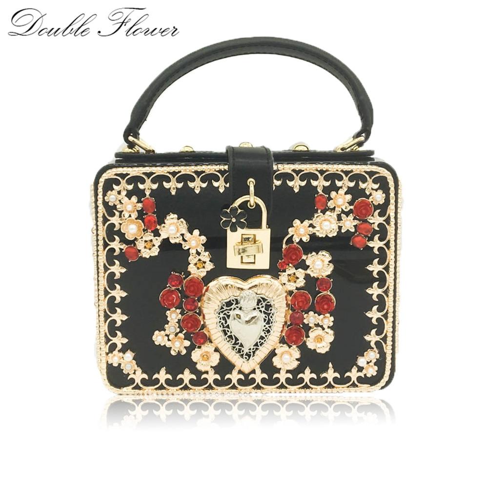 c81dc13c66 Flower Heart Beaded   Crystal Women Acrylic Black Fashion Shoulder Totes Bag  Crossbody Handbag Purse Ladies