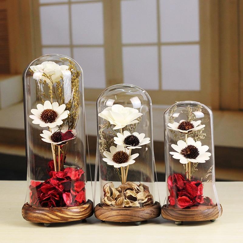 SIBAOLU Portable Flower Vase Terrarium Succulents <font><b>Plants</b></font> Micro Landscape Cover and Filler Terrarium Home Decor Glass Cover Vase