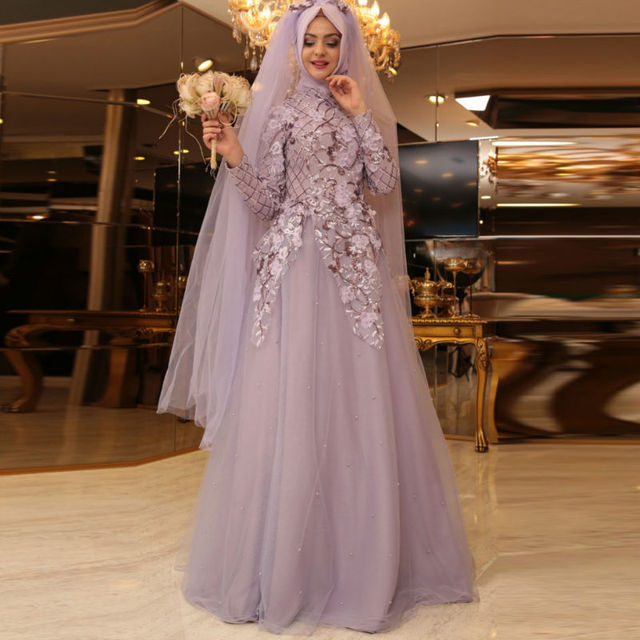 Muslim Bridal Dresses Robe De Soiree 2016 Wedding Gown Floral Hijab Islamic Turkish Traditional Dress