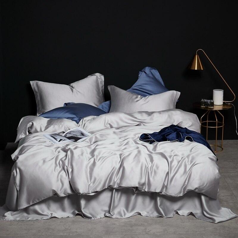 Luxury Premium Tencel Silk Bedding Set Duvet Cover Bed Sheet Set Breathable Ebay