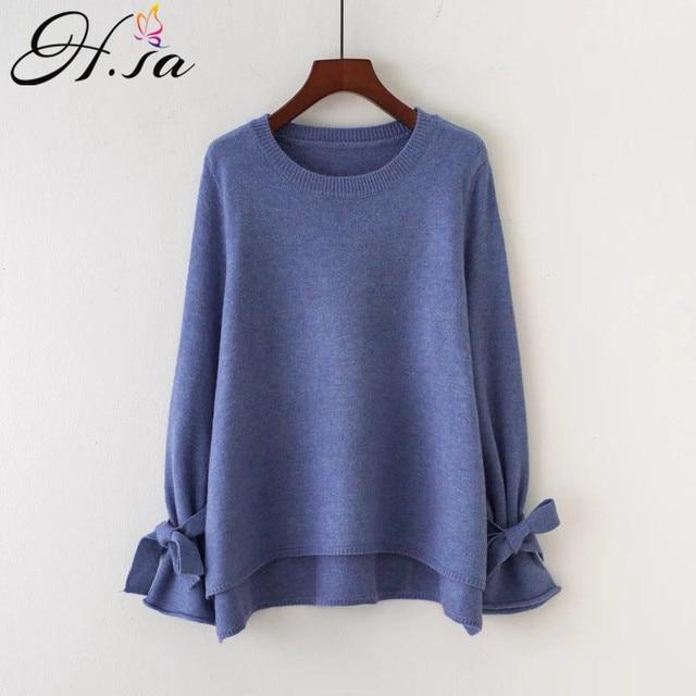 HSA 2018 Women Korean Fashion Pull Sweaters Oneck Flare Sleeve Knitwear  Irregular Loose Jumpers Bow Cute 642b411ed435