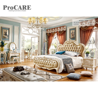 Bedroom furniture American wooden supplier PU leather king size bed frame 938