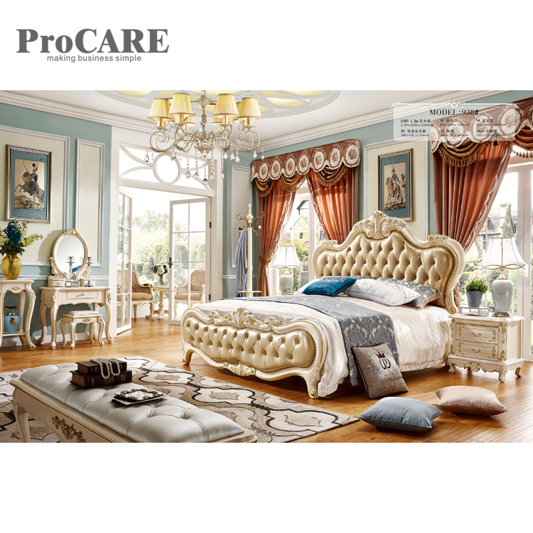 Bedroom furniture American wooden supplier PU leather king size bed frame - 938