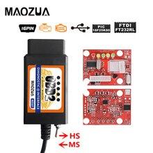 Maozua ELM327 V1.5 USB ดัดแปลงสำหรับ F Ord MS สามารถ HS สามารถ Forscan OBD2เครื่องสแกนเนอร์ Elm327 OBD บลูทูธ2 V1.5 Wifi
