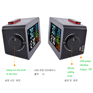 Image 3 - カラフルな液晶テーブルデジタルスマートアラーム時計温度温度計湿度湿度計デスクトップ充電器覚ますスヌーズ