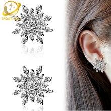 korean snowflake earrings fashion jewelry brinco aretes boucle d'oreille studs earring women oorbellen aros crystal earing цены