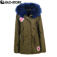 GLO STORY 2017 Women Thick Mid Long Fur Hooded Embroidered Winter Parka Coat Feminino Fur Lining