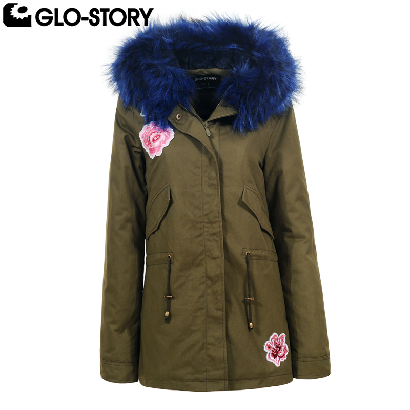 GLO-STORY 2018 Women Thick Mid Long Fur Hooded Embroidered Winter Parka Coat Feminino Fu ...