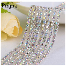 Prajna Rhinestone Cup Chain Silver Based Claw Mix Color AB Crystal Sew on Cup Chain for Clothing Dress Ornament Accessories B(China)