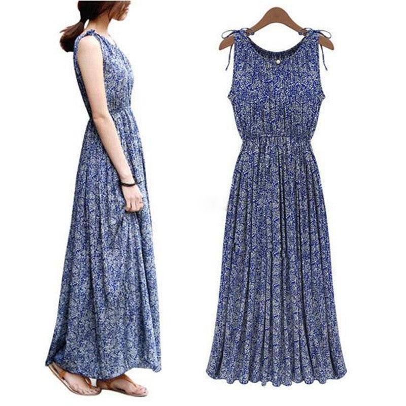 Vintage Floral O Neck Women Summer Boho Long Maxi Beach Sundress Dress Vestidos Plus Size Dresses