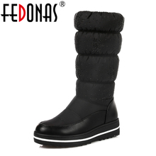 FEDONAS Plus size 35-44 Women Russia Snow Boots Thick Fur Inside Winter Keep Warm Shoes Crystal Mid Calf High Boots Black