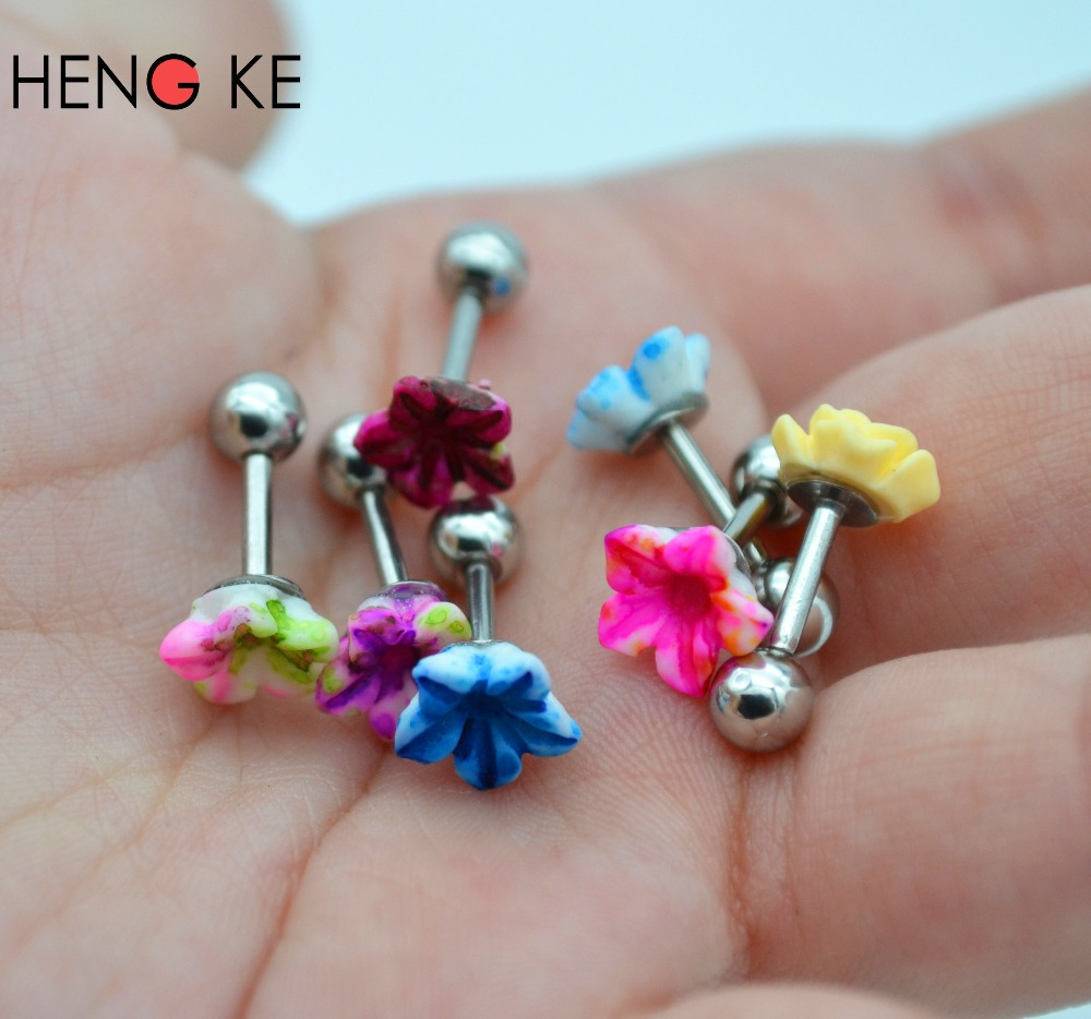 New Surgical Steel Tragus Small Helix Labret Cartilage Bar Ear Studs  Earrings Rose Flower Popular Cute
