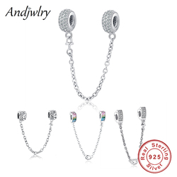 Fit Original Pandora Charms Bracelet 925 Sterling Silver White Zircon Safety Chain Heart Charm Bead DIY Jewelry Making Berloque