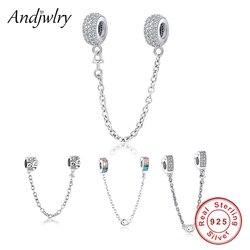 Fit Original Pandora Charms Bracelet 925 Sterling Silver White Zircon Safety Chain Heart Charm Bead DIY Jewelry Making Berloque