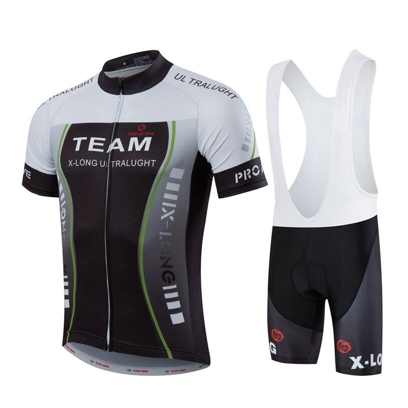 Prix pour VOILE chaud SOLEIL Hommes Vélo Jersey Bib Shorts Noir Blanc VTT Cycling Team Jersey Top Sport Pro Vélo Vêtements Vélo chemise