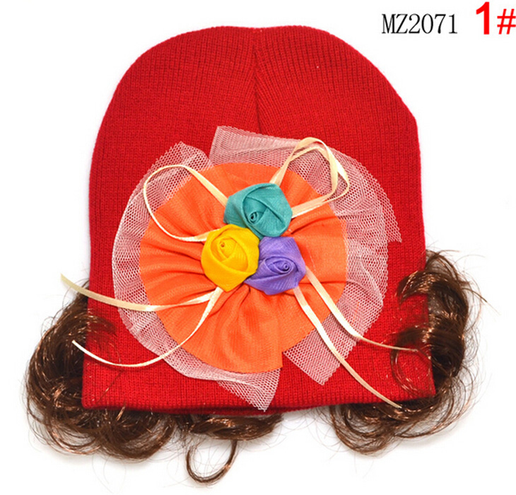 Filles Trois Couleur Rose Fleur Perruques Bonnets Chapeau Enfants Enfants Printemps  Automne Bonnet Tricoté Calotte MZ2071 c815f253d91
