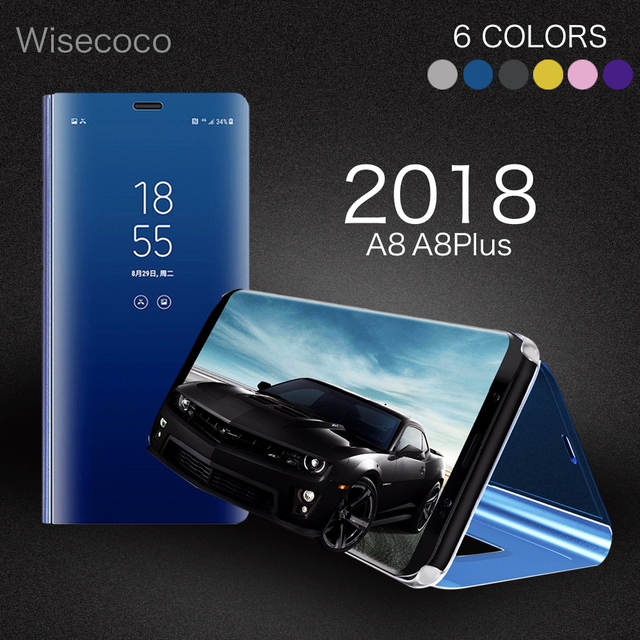competitive price 73e98 00a8c US $9.0 |Luxury Flip Cover Leather Smart Chip Case For Samsung Galaxy A8  Plus A8Plus A8+ Clear View Stand Mirror Case for Samsung A8 2018-in Flip ...