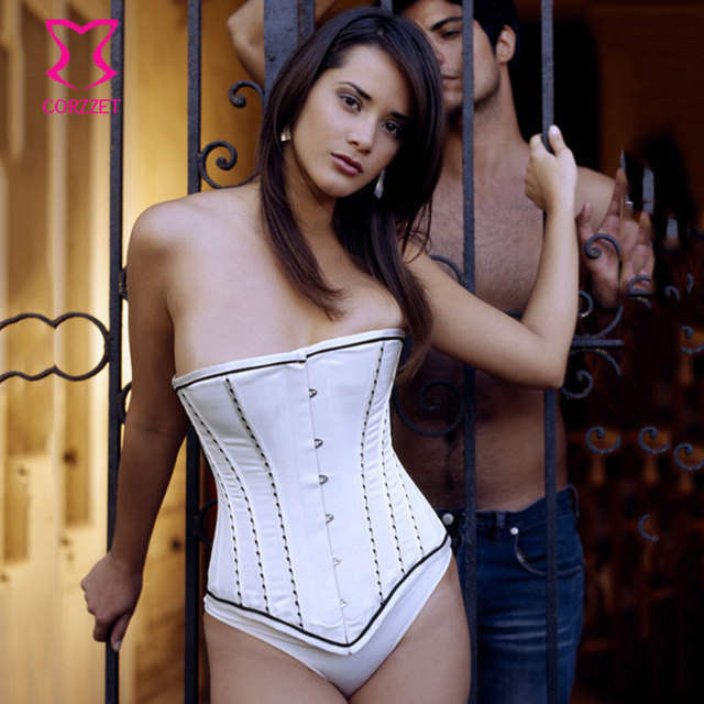 Corzzet Victorian White Satin Strapless Overbust Corsets and Bustiers Sexy Lingerie Waist Trainer Steel Boned Gothic Corsetto