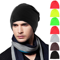 Men Women Beanie Ski Cap Solid Color Hip-Hop Winter Warm Baggy Beanie Unisex Hat