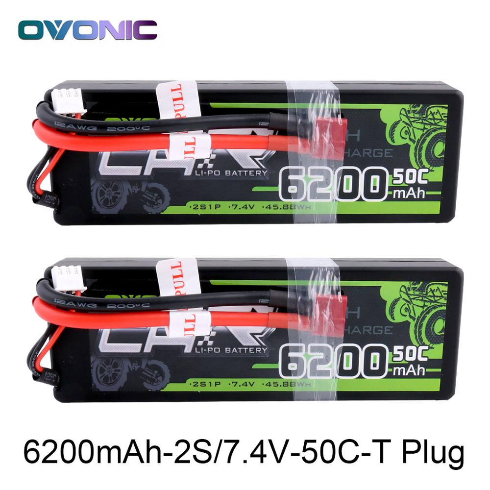 Ovonic RC Car Battery 6200mAh 7.4V LiPo 2S 50C Max 100C Battery Pack Hardcase for 1:8 1:10 Size Bandit Emaxx Slash HPI RC Car