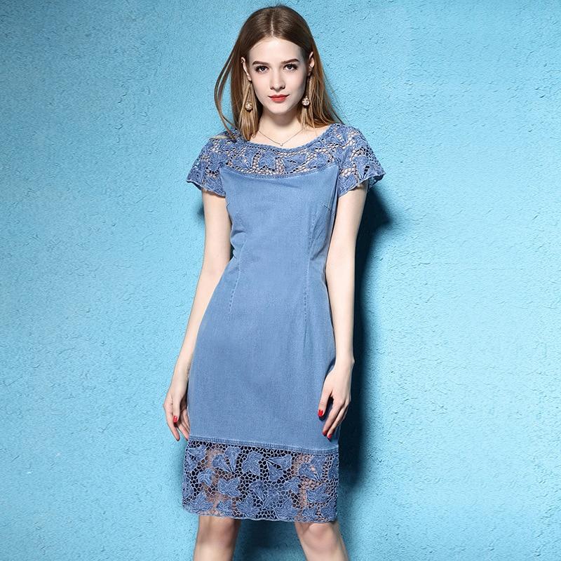 Summer large size women s fashion flowers pierced embroidery lace tencel dress short sleeved denim lovely