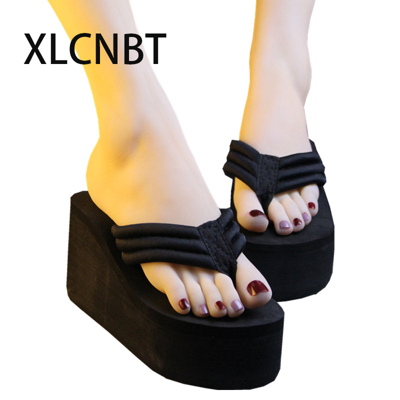 Summer women flip flop  platform wedge black high-heeled female cool slippers sandals flip-flops waterproof antiskid slipper women s valentine wedge high heeled