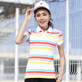 2017 New Women Polo Shirts Summer Fashion Cotton Striped Short Sleeved Polos Womens Polo Tops Plus Size Female Casual Shirts